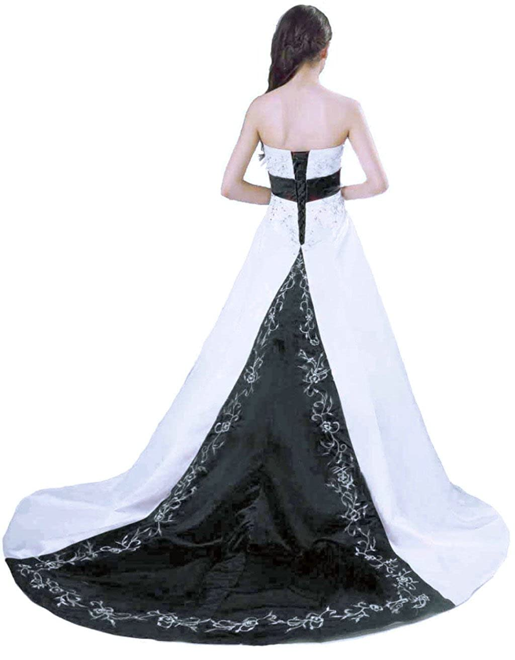 White   Black Vantexi Embroidery Satin Strapless Wedding Dress Bridal Gown