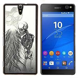 For Sony Xperia C5 Ultra - LOVE DEATH METAL SKELETON SKULL WHITE /Caja protectora de pl???¡¯????stico duro de la cubierta Dise???¡¯???¡Ào Slim Fit/ - Supe