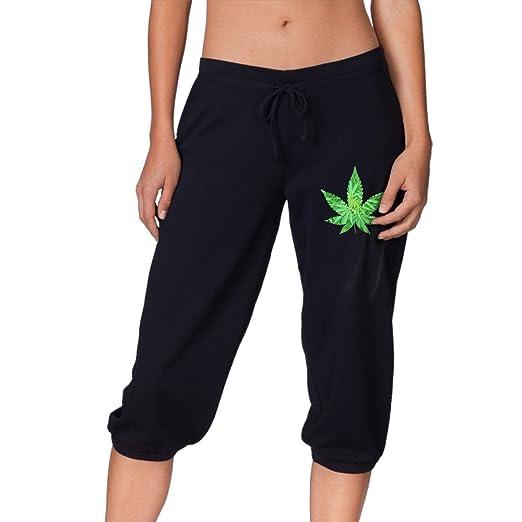 Weed Weed Active Women Casual Drawstring Woven Capri Pant Black Capri Joggers XL