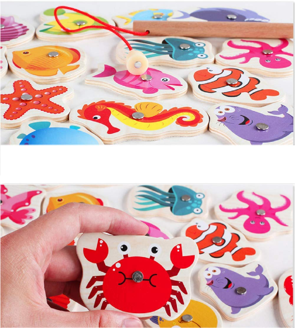 Alphabet Fishing YESKY Magnetic Wooden Fishing Game for Toddler Fish Toy for 3-5 Year Old Boy and Girl Gifts Alphabet or Count with 26 Ocean Animals and 2 Rods