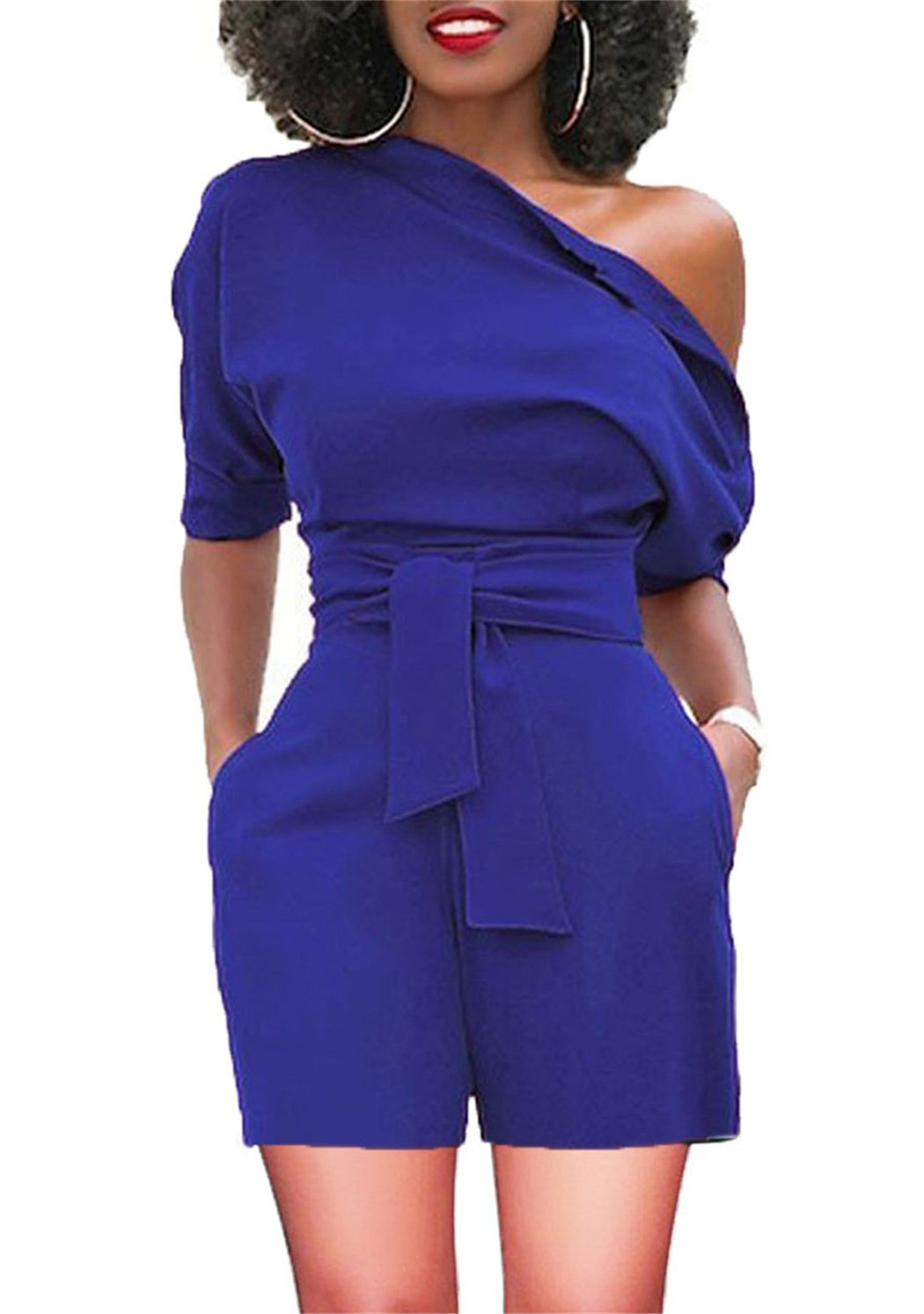 Women's One Off Shoulder High Waisted Club Suits Bodycon with Pockets Blue XX-Large