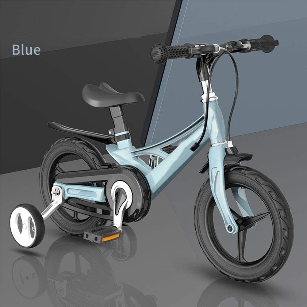 MQYZS Bicicleta Infantil para niños y niñas a Partir de 3 años   Bici 12-14-16 Pulgadas,con Frenos on sillín y manubrio Regulable,Azul,12 Inch