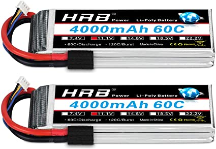 HRB Lipo Battery 22.2V 6S 4000mAh 60C 120C EC5 for RC Airplane Drone Car Boat US