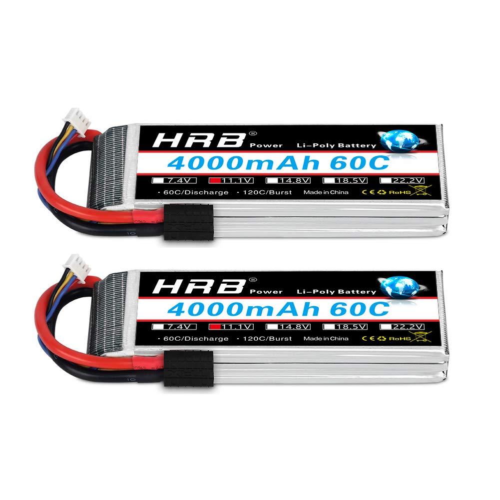 HRB 2pcs 3S 11.1 V 4000mAh 60C Bater/ía Lipo con Traxxas TRX Enchufe para RC Helic/óptero Avi/ón Coche Barco Barco