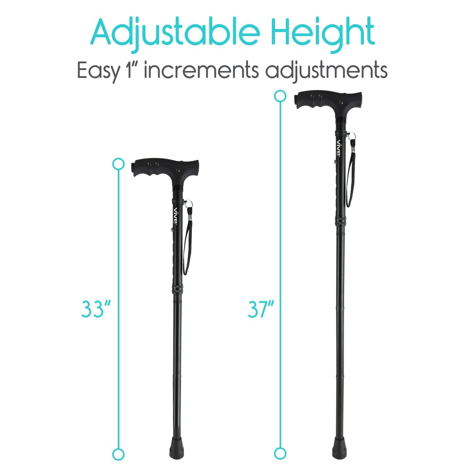 Vive LED Folding Cane with Light - Lightweight Collapsible Aluminum Walking Aid with Flashlight - Bariatric Foldable Small Travel Stick - Men, Women, Senior - Easy Fold up - Cool, Fashionable (Black) by VIVE (Image #4)