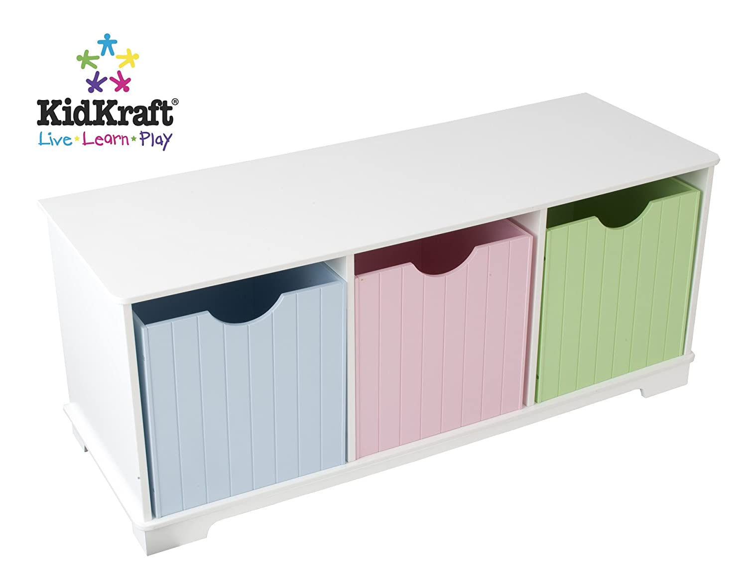 Pleasant Kidkraft Nantucket Wooden Storage Bench With Three Bins Wainscoting Detail Pastel Gmtry Best Dining Table And Chair Ideas Images Gmtryco