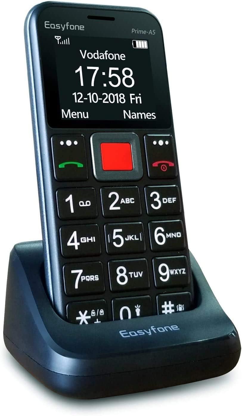 Easyfone Prime-A5 gsm Teléfono Móvil para Personas Mayores con Teclas Grandes y botón SOS, Fácil de Usar Móviles para Ancianos con Base cargadora