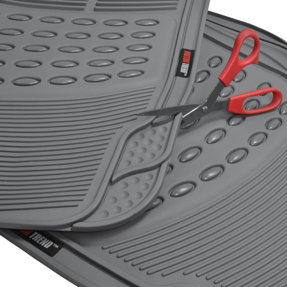 Motor Trend Heavy Duty Gray All Season Odorless Rubber 4 Piece Floor Mats w// 1 Piece Trim to Fit Trunk Cargo Liner
