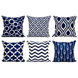 Decorative Pillow Cover - Top Finel 100% Durable Canvas Square Decorative Throw Pillows Cushion Covers Pillowcases For Sofa 1 Set of 6,18×18 Inch-Navy