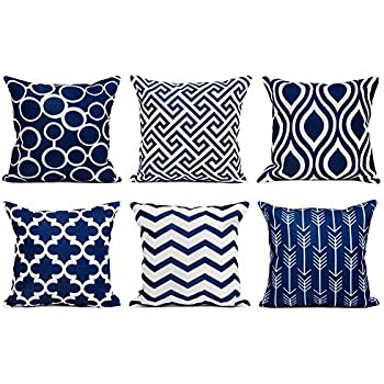 Top finel 100 durable canvas square decorative throw pillows cushion covers pillowcases for sofa 1 set of 618x18 inch navy