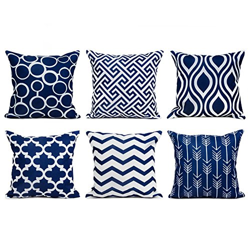 Top Finel 100% Durable Canvas Square Decorative Throw Pillows Cushion Covers Pillowcases For Sofa 1 Set of 6,18×18 Inch-Navy (For Throws Navy Sofa)