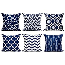 Top Finel 100% Durable Canvas Square Decorative Throw Pillows Cushion Covers Pillowcases For Sofa 1 Set of 6,18x18 Inch-Navy Series