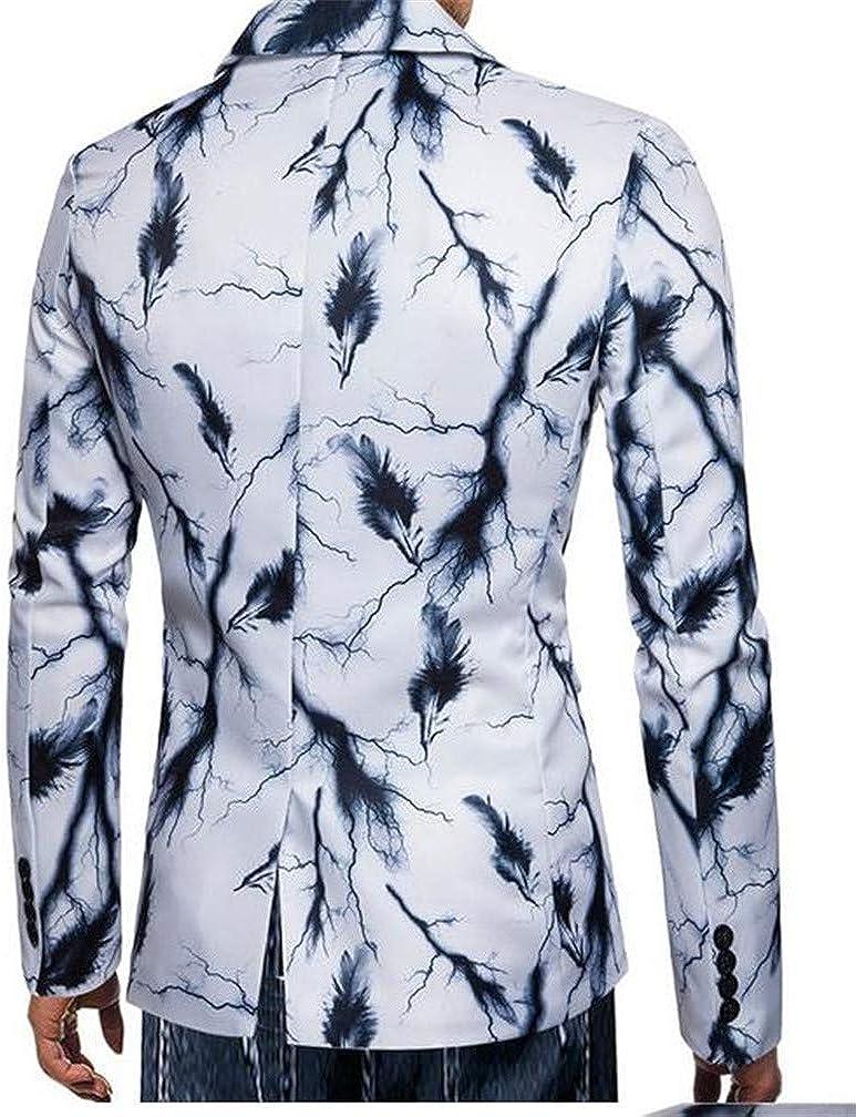 Cromoncent Men Tie Dyed Lapel Neck Casual One Button Print Sports Blazer Jacket White1 L