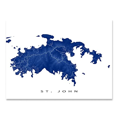 Amazon.com: St John Map Art Print, US Virgin Islands, USVI ...