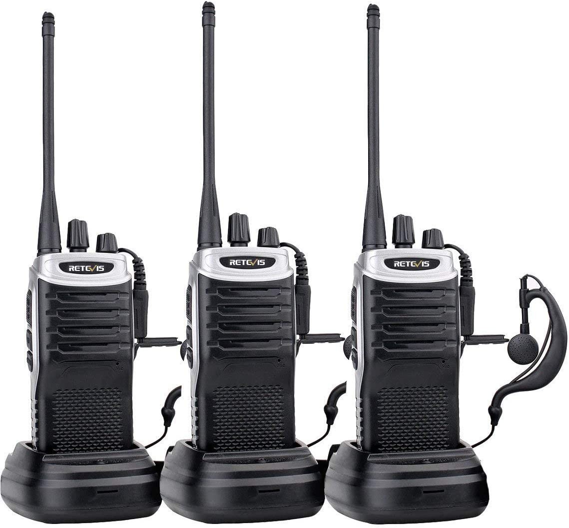 Retevis RT7 Rechargeable Walkie Talkies for Adults 3 Pack 16 CH FM VOX Scan Flashlight Thin Family Two Way Radio with Earpiece Black Silver Side,3 Pack