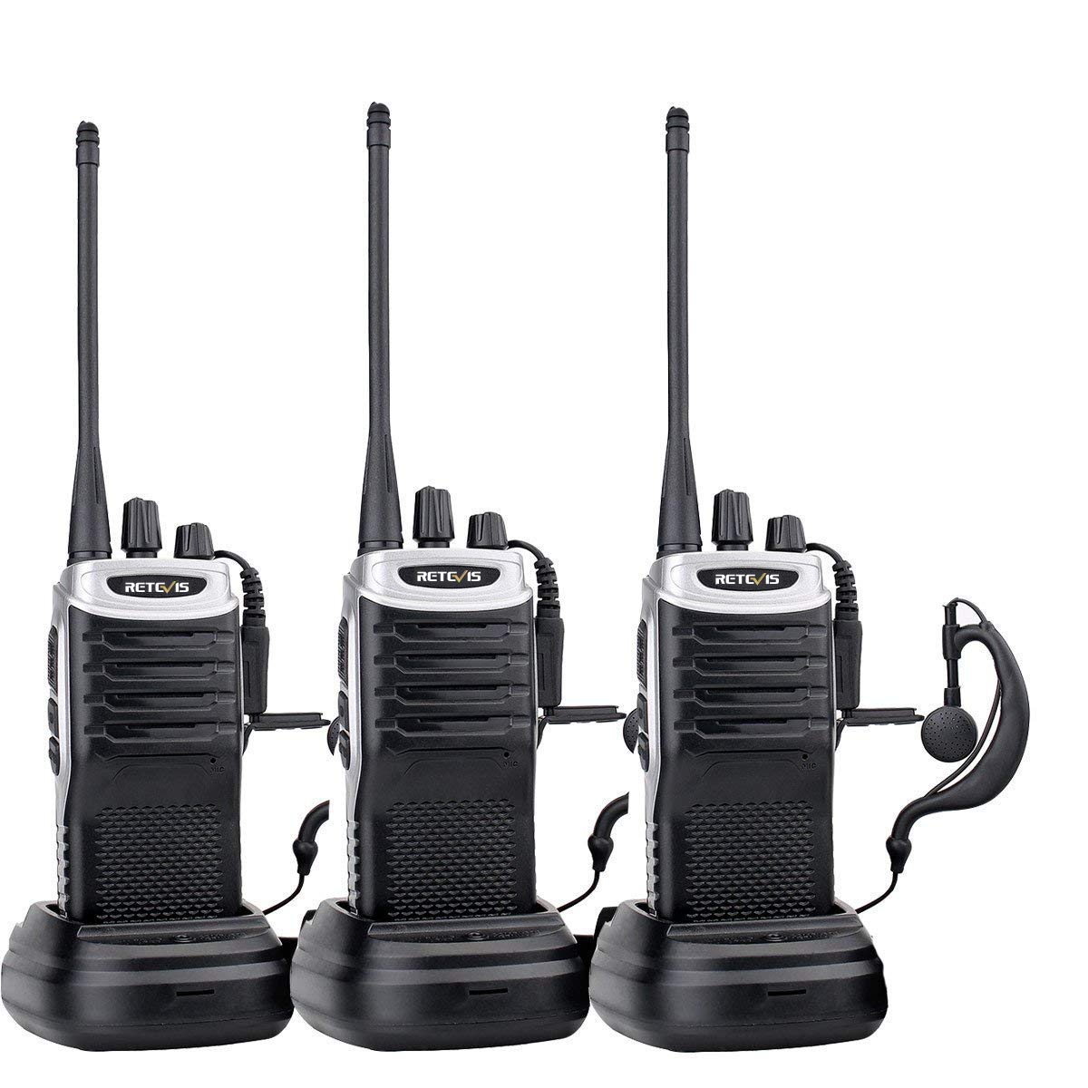 Retevis RT7 2 Way Radios Rechargeable Long Range 16 CH UHF FM Two Way Radio VOX Scan Walkie Talkies with Earpiece Black Silver Side,3 Pack