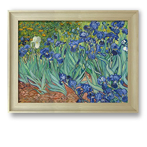Irises by Vincent Van Gogh Framed Art Print Famous Painting Wall Decor Natural Wood Finish Frame