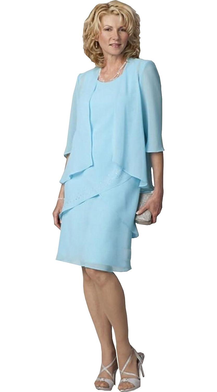 Newdeve Chiffon 3/4 Sleeve Tea Length Sky Blue Mother Dress With ...