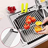 AYUQI Roll Up Dish Drying Rack, Multipurpose Kitchen Drainer Rack, Foldable Stainless Steel Over The Sink Premium Stainless Steel Sink Rack Kitchen Mat 17.7''(L) x 10.2''(W) X 1'' (H)