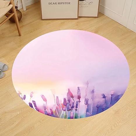 Amazon.com: Gzhihine Custom round floor mat Watercolor Flower Home ...