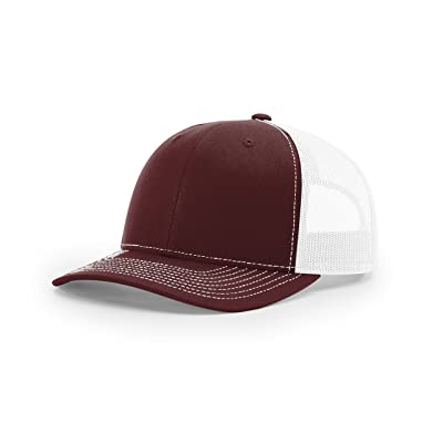 Richardson Maroon/White112 Mesh Back Trucker Cap Snapback Hat w/THP No Sweat Headliner