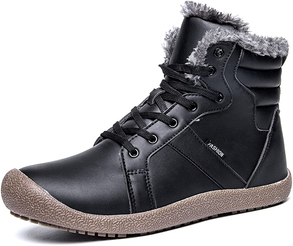 Men Warm Ankle Boots Lace Up Outdoor Work Boots Male Faux Fur Lining Warm Shoes