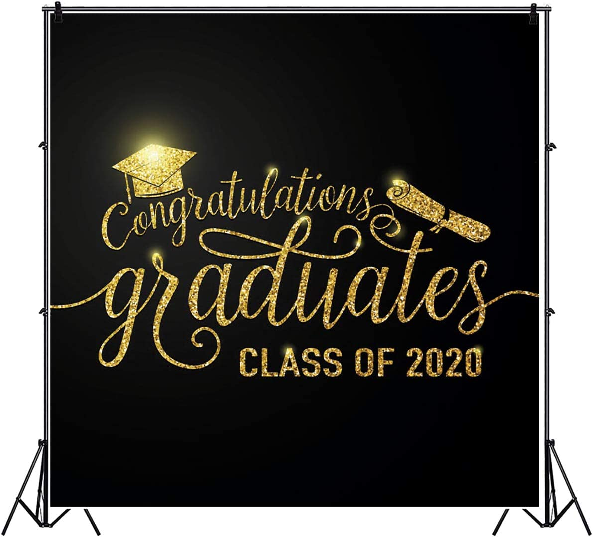 Leyiyi 8x8ft Class of 2020 Backdrop Gold Bachelor Cap Golden Champagne Glass Fireworks Photography Background Class Graduation Prom Party Banner Vinyl Photo Studio Props