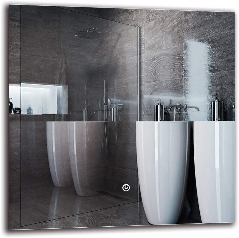 Wandspiegel Lichtspiegel Badspiegel ARTTOR M1ZD-01-40x40 Ber/ührungsschalter LED Spiegel Deluxe Spiegelma/ßen 40x40 cm Fertig zum Aufh/ängen Touch Schalter Lichtfarbe Wei/ß kalt 6500K