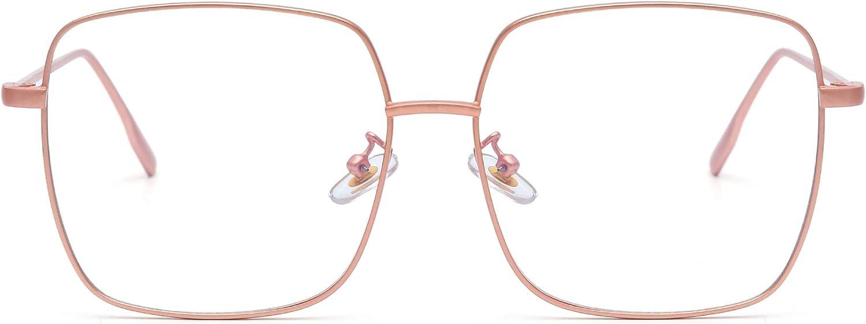 Moda Metal Gafas Ópticas Marco Cuadrado Anti Luz Azul Computadora Anteojos Protección Para Los Ojos Mujer Rosa