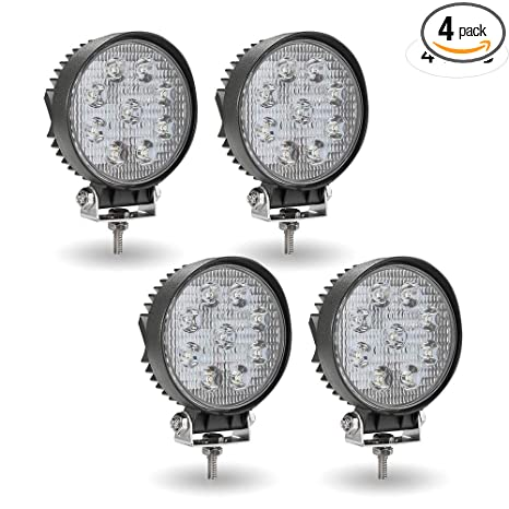 TURBO SII 4Pack 27W 4inch Spot Beam Round Led Work Light Bar Driving Fog Light Offroad