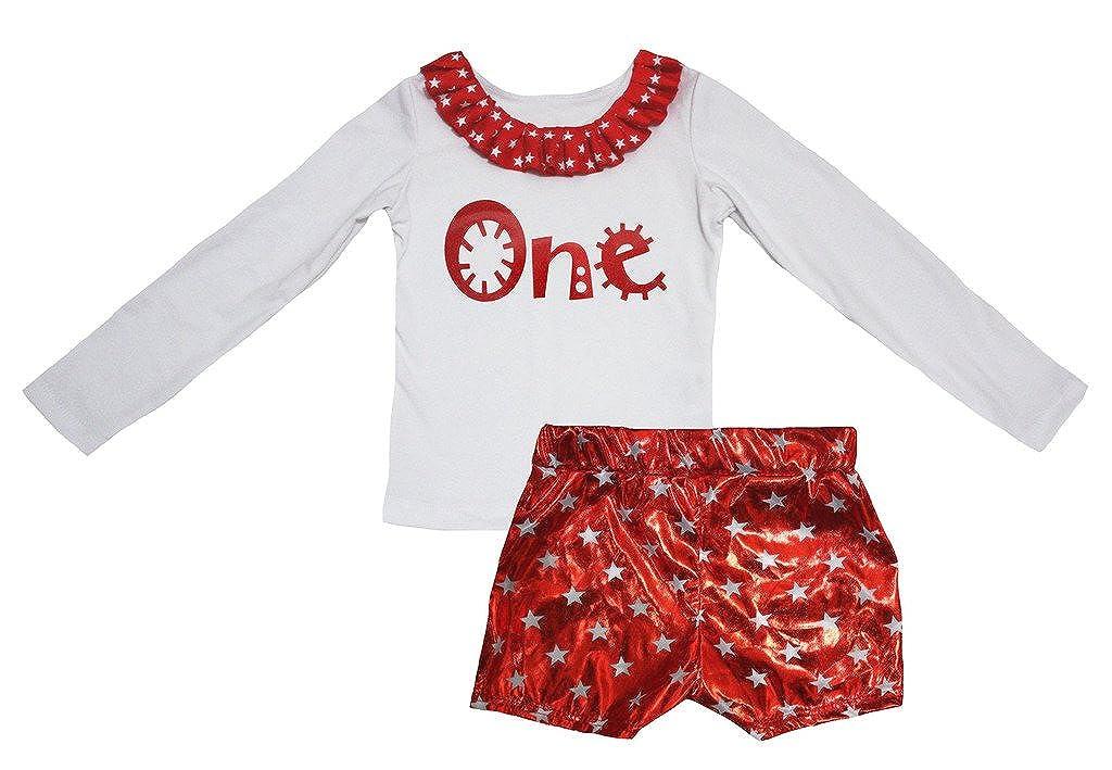 Petitebella Cartoon One White Cotton L//s Shirt Stars Red Bling Short Set 1-8y