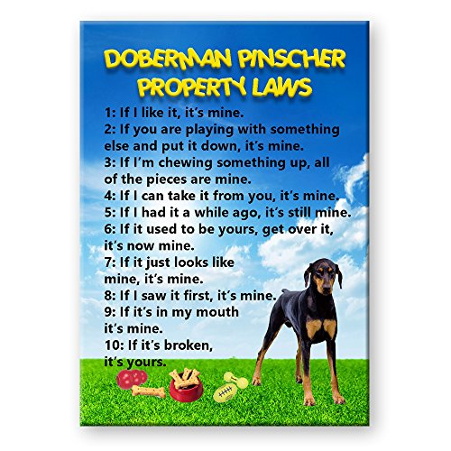 Doberman Pinscher Ears - Doberman Pinscher Property Laws Fridge Magnet No 3 Soft Ears