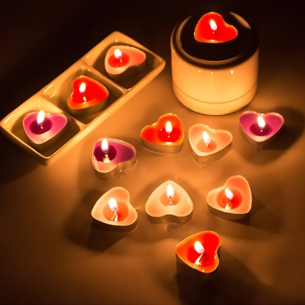 Amazon.com: Kangkang@ 50 PCS Heart Shape Vela Candle ...