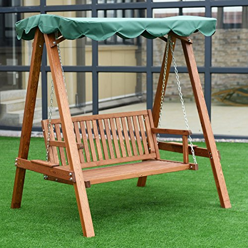 Tangkula Outdoor Patio Swing Wooden Loveseat Hammock Canopy Garden Poolside