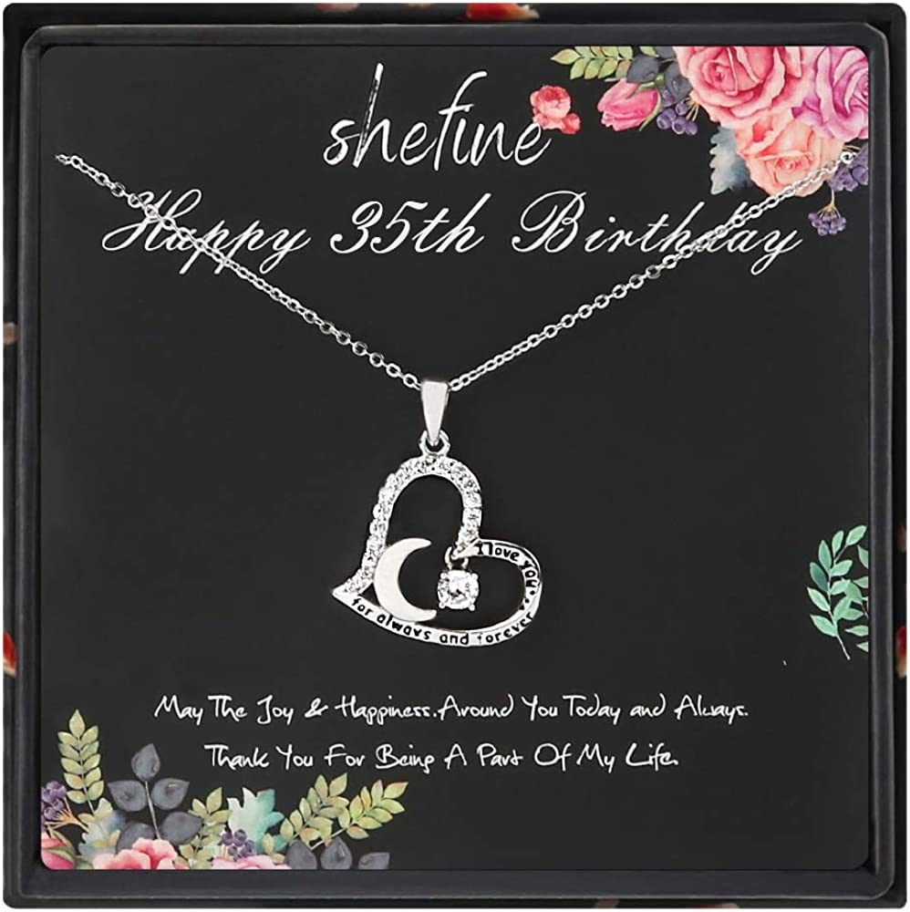 Stainless Steel Womens White Zircon Heart Necklace 35th Birthday Gifts for Women Funny 35th Birthday Gifts for Women 35 Year Old Birthday Gifts for Women
