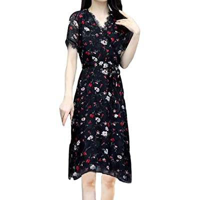 Sttech1 Women Fashion Summer Short Sleeve Dress V-Neck Floral Lace Dress A-Line Dresses with Belts: Clothing