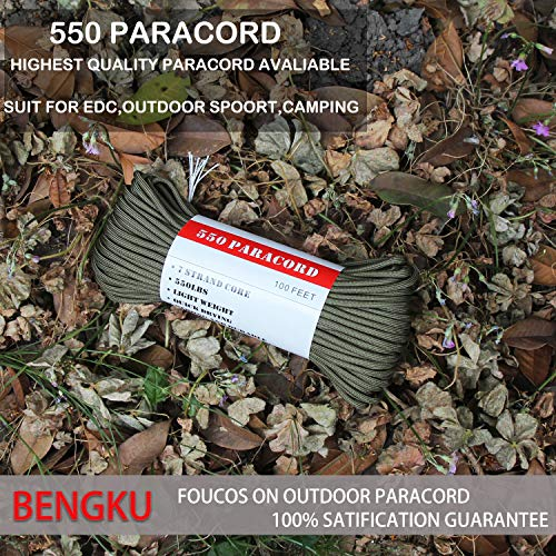 BENGKU Outdoor Survival Mil-SPEC 550lb Paracord/Parachute Cord(MIl-C-5040-H),100Feet,100% Nylon. (Olive Green, 100.00) by BENGKU (Image #2)