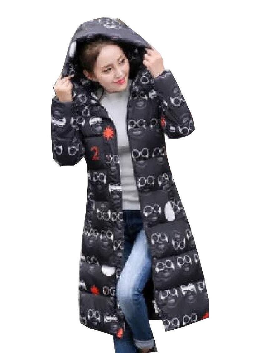 5 jxfd Womens Hoodie Thick Camo Star Print Zip Front Maxi Down Coat