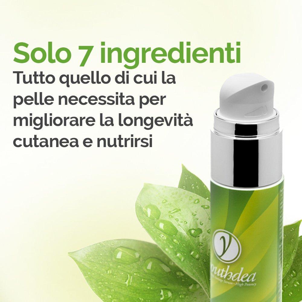 Youthdea suero antiedad global: Made in Italy, siete ingredientes esenciales, VITAMINA C pura y ÁCIDO HIALURÓNICO MICRONIZADO, corrección de los problemas ...
