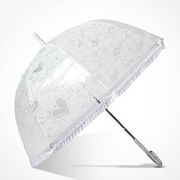 DUFEI Más Grueso Paraguas Transparente Mujer Corea Pequeña Personalidad Japonesa Fresca Pareja Paraguas Soleado Masculino Manija