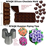 150 Pcs Cake Decorating Supplies Kit for Beginners-1 Turntable stand-48 Numbered icing tips with pattern chart & E.Book-1 Cake Leveler-Straight & Angled Spatula-3 Russian Piping nozzles-Baking tools 11 ✅ SMOOTH REVOLVING TURNTABLE: RFAQK turntable stand revolve smoothly with hidden ball bearings and helps you easily decorate cakes for birthdays, weddings and other events. It revolves clock & anti clock wise, good for both Right & Left handers. Use RFAQK straight spatula for icing round cakes from sides and angled spatula from Top while rotating turntable. Turntable is made from non-sticky, non-toxic & dishwasher safe plastic. Ideal for beginners as well as for professionals ✅ NUMBERED TIPS – EASY TO USE: This is the ONLY set having numbered tips with Pattern chart. So you don't have to worry about which tips produce what kind of decoration, just have a look on pattern chart where we have provided outcome of each tip to make tip selection very easy. ✅TOP PROFESSIONALLY SELECTED TIPS: We have selected top 48 tips including Round Tips, Leaf Tips, Petal Tips, French Tips, Basket Weave tips, open Star Tips & close Star Tips, Drop Flower tips. ✅ USEFUL ACCESSORIES. Use 3 scrapers to smooth icing on sides & top and carve designs. Use 2 couplers to exchange tips without exchanging piping bags. Use cleaning brush to clean narrow top of tips. RFAQK decorating pen helps you writing, decorating same as you doing with normal pen. Use flower nail with RFAQK petal tip to produce roses. Use flower lifter scissor to shift flower from nail to Cake
