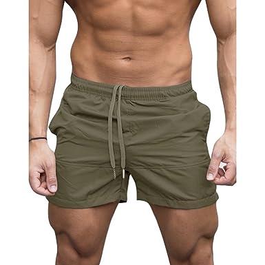 775ef3c31784 Yying Herren Kurze Hosen Sommer Shorts Mode Strandhose mit Tasche Elegant  Einfarbig Drawstring Elastische Taille Hose Männer Sporthose Freizeithose  ...