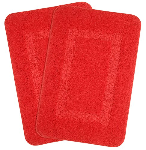 Saral Home Soft Microfiber Anti Slip Solid Bathmat Red (Pack of 2, 18x28 Inches) (Mat Bright Bath Red)