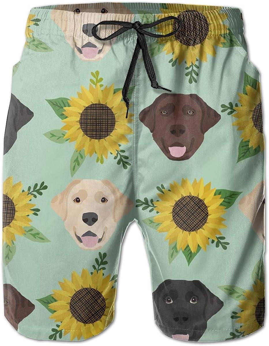 Jhonangel Pantalones Cortos de baño de Secado rápido para Hombres Pantalones Cortos Ropa de Playa-Labrador Floral Girasol