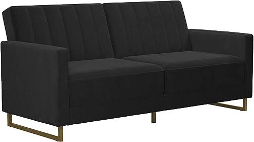 Novogratz Skylar Coil, Modern Sofa Bed and Couch, Black Velvet Futon