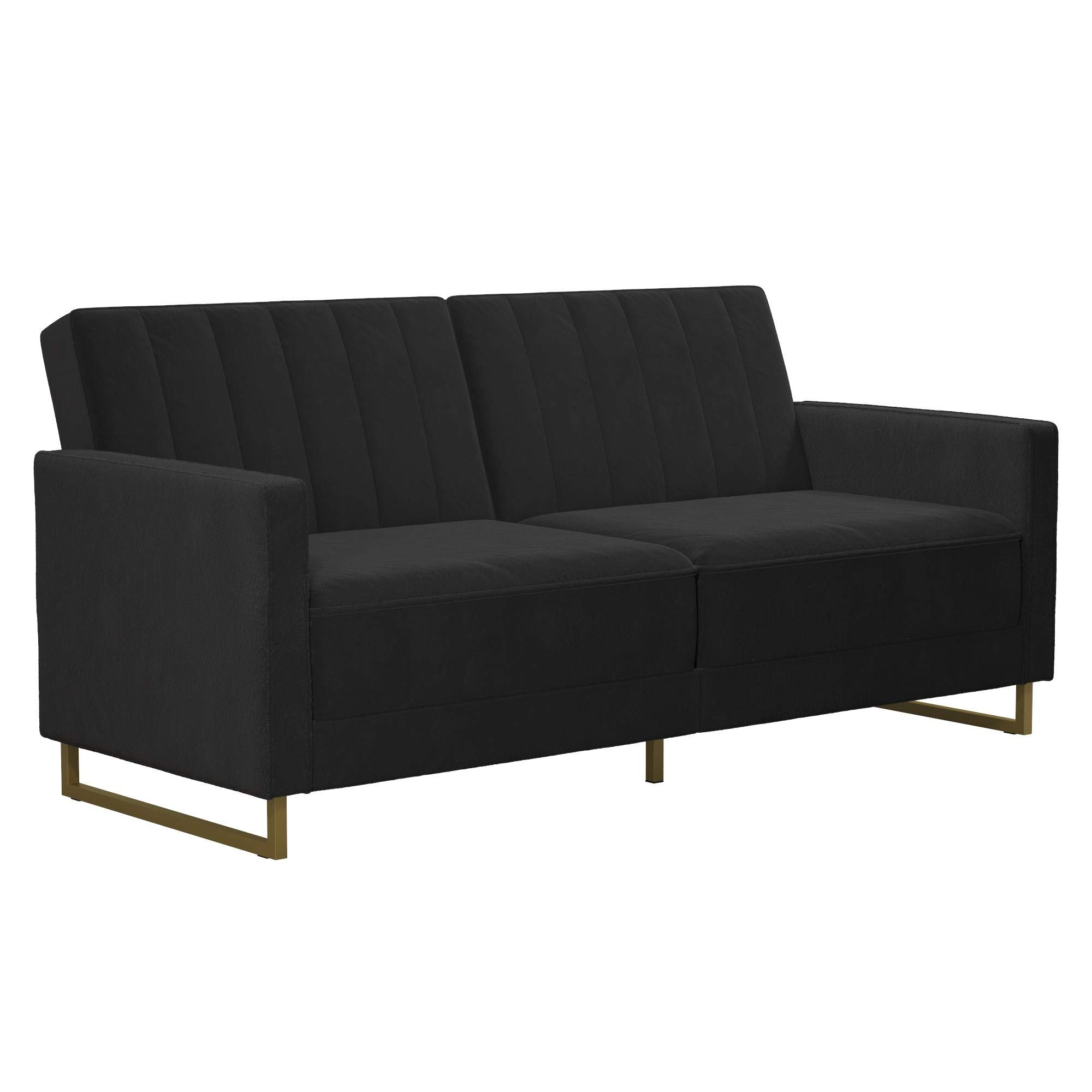 Novogratz Skylar Coil, Modern Sofa Bed and Couch, Black Velvet Futon by Novogratz