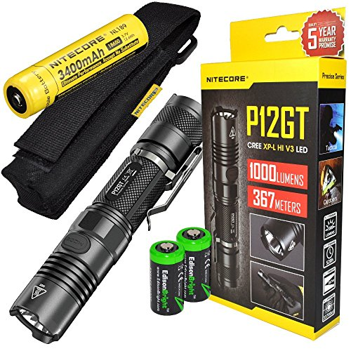 Bundle: NITECORE P12GT 1000 Lumen CREE LED 350 yards long throw tactical flashlight with Nitecore NL189 3400mAh rechargeable 18650 Battery and 2 X EdisonBright CR123A Lithium Batteries