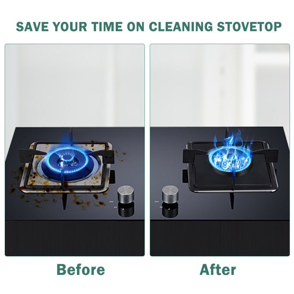 """Gas Range Protectors Stovetop Burner Liner Covers Dishwasher Safe gas range drip pan Reusable Non-Stick FDA Approved Fast Clean Liners for Kitchen/Cooking 0.2 mm Thickness (10.6"""" x 10.6"""")"""