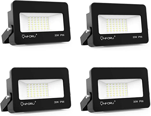 Onforu 35W Foco LED Exterior (4 Pack), 3000LM Super Potente Proyector LED, Reflector LED IP66 Impermeable, Foco LED Interior 5000K Blanco Frío para Patio Jardín Garaje Campo Deportivo Estadio Fábrica: Amazon.es: Iluminación