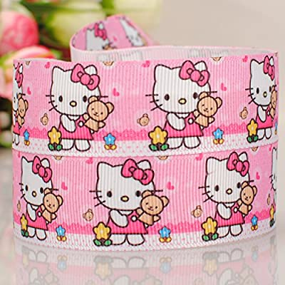 "10 Yards7/8""22mm pink Hello kitty cartoon Printed Gift Grosgrain Ribbon"